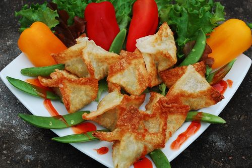 Meatloaf and avocado crab rangoon 014