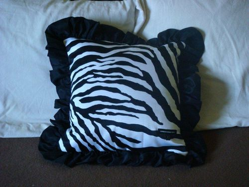 Zebra pillow from skirt front